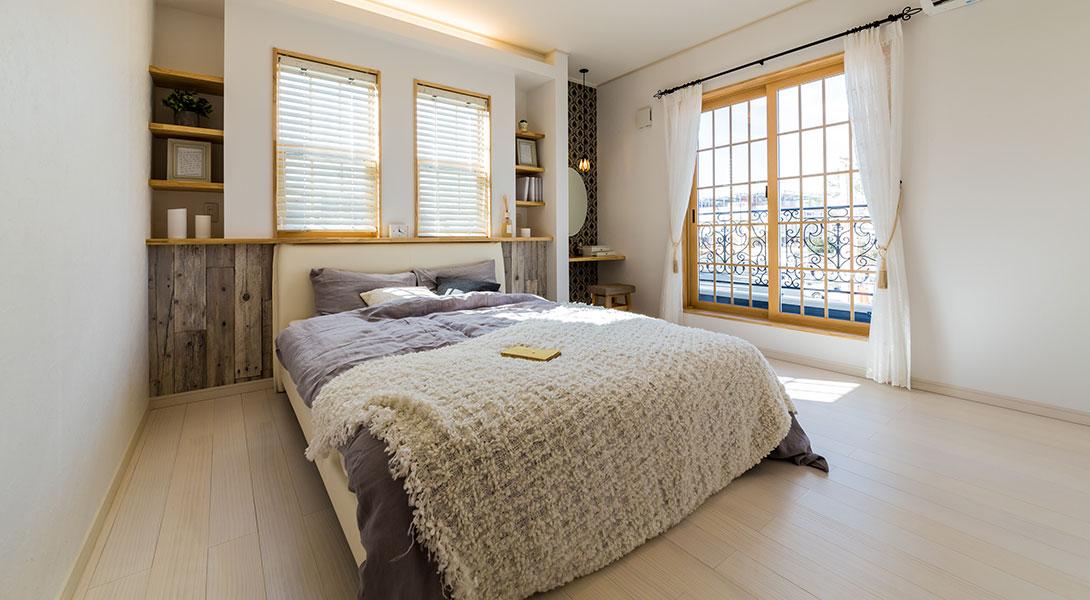 可愛らしい雰囲気の主寝室(写真はかしわ沼南展示場モデルハウス)